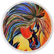Round Beach Towel featuring the painting Flame Bold And Colorful War Horse by Janice Rae Pariza