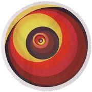 Flame Meditation On A Yellow Wall Round Beach Towel