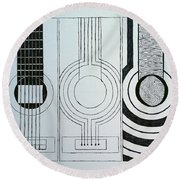 Flamenco Guitar Round Beach Towel