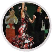 Flamenco Series No 13 Round Beach Towel by Mary Machare