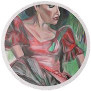 Flamenco Solo Round Beach Towel by Ecinja Art Works