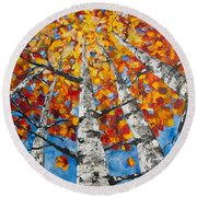 Flaming Aspens Round Beach Towel