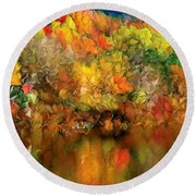Flaming Autumn Abstract Round Beach Towel