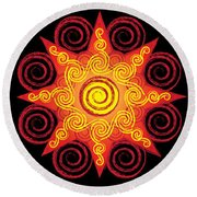 Flaming Celtic Sun Round Beach Towel