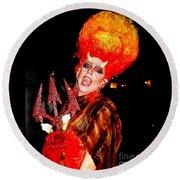 Halloween Flamming Devilish Deva Costume In The French Quarter Of New Orleans Round Beach Towel