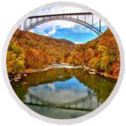 Flaming Fall Foliage At New River Gorge Round Beach Towel