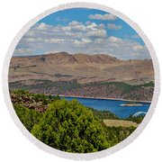 Round Beach Towel featuring the photograph Flaming Gorge by Janice Rae Pariza