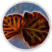Flaming Leaves Round Beach Towel