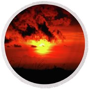 Flaming Sunset Round Beach Towel