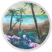 Flamingo Beach Round Beach Towel