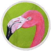 Flamingo Head Round Beach Towel