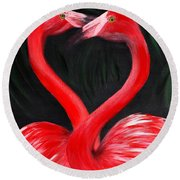 Love  Is... Flamingo Love. Inspirations Collection Round Beach Towel