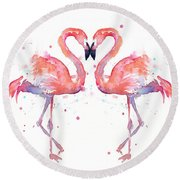 Flamingo Love Watercolor Round Beach Towel