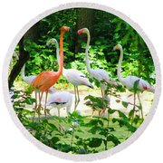 Flamingo Round Beach Towel by Oleg Zavarzin
