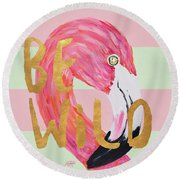 Flamingo On Stripes Round Round Beach Towel by Julie Derice