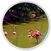 Flamingo Party Round Beach Towel