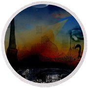 Round Beach Towel featuring the digital art Flamingo Pink Gone by Cathy Anderson