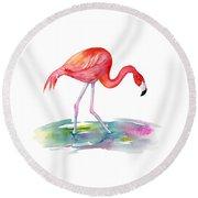 Flamingo Step Round Beach Towel