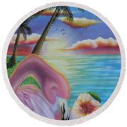 Round Beach Towel featuring the painting Flamingo Sunset by Dianna Lewis