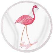 Flamingo Walk IIi Round Beach Towel