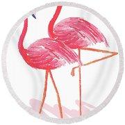 Flamingo Walk Watercolor II Round Beach Towel