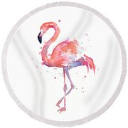 Flamingo Watercolor Round Beach Towel