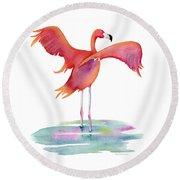 Flamingo Wings Round Beach Towel
