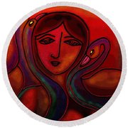 Round Beach Towel featuring the digital art Flamingoes- Mural Style by Latha Gokuldas Panicker