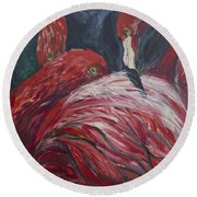 Round Beach Towel featuring the painting Flamingos by Avonelle Kelsey