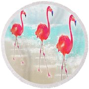 Round Beach Towel featuring the digital art Flamingos On The Beach by Jane Schnetlage