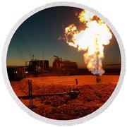 Flare And A Vacuum Truck Round Beach Towel