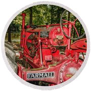 Flash On Farmall Round Beach Towel by Robert Frederick