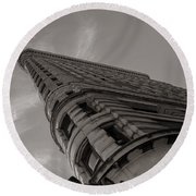 Flat Iron Building Round Beach Towel by Angela DeFrias