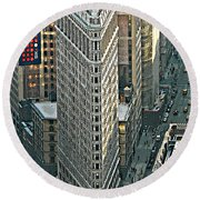 Flatiron Building Nyc 1 Round Beach Towel by Emmy Marie Vickers