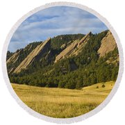 Flatiron Morning Light Boulder Colorado Round Beach Towel