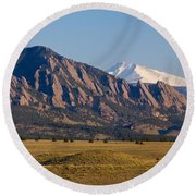 Flatirons And Snow Covered Longs Peak Panorama Round Beach Towel