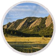 Flatirons From Chautauqua Park Round Beach Towel