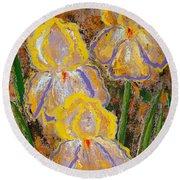 Fleur D' Iris Round Beach Towel