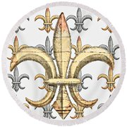 Fleur De Lys Silver And Gold Round Beach Towel