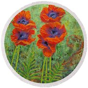Fleurs Des Poppies Round Beach Towel by Margaret Bobb