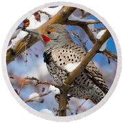 Flicker In Snow Round Beach Towel