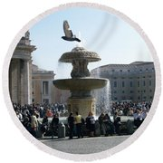 Round Beach Towel featuring the photograph Flight And Fountain by Robin Maria Pedrero