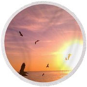 Flight Into The Light Round Beach Towel by Chris Tarpening