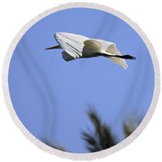 Round Beach Towel featuring the photograph Flight Of The Egret by Penny Meyers