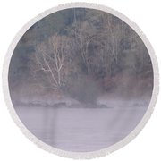 Round Beach Towel featuring the pyrography Flint River 10 by Kim Pate