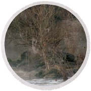 Round Beach Towel featuring the photograph Flint River 19 by Kim Pate