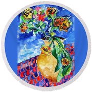 Flip Of Flowers Round Beach Towel by Esther Newman-Cohen