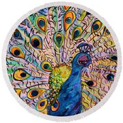 Round Beach Towel featuring the painting Flirty Peacock by Eloise Schneider
