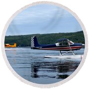 Float Planes On Keuka Round Beach Towel