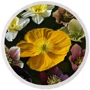 Floating Bouquet Of Early April Flowers Round Beach Towel